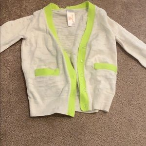 Cat and jack girls cardigan lime and cream